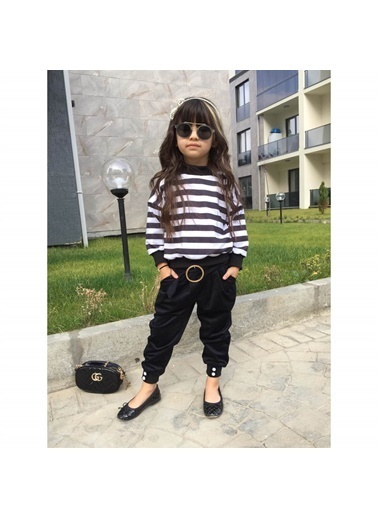 Quzucuk Kids Kız Çocuk Çizgili Kadife Pantolonlu Takım Renkli